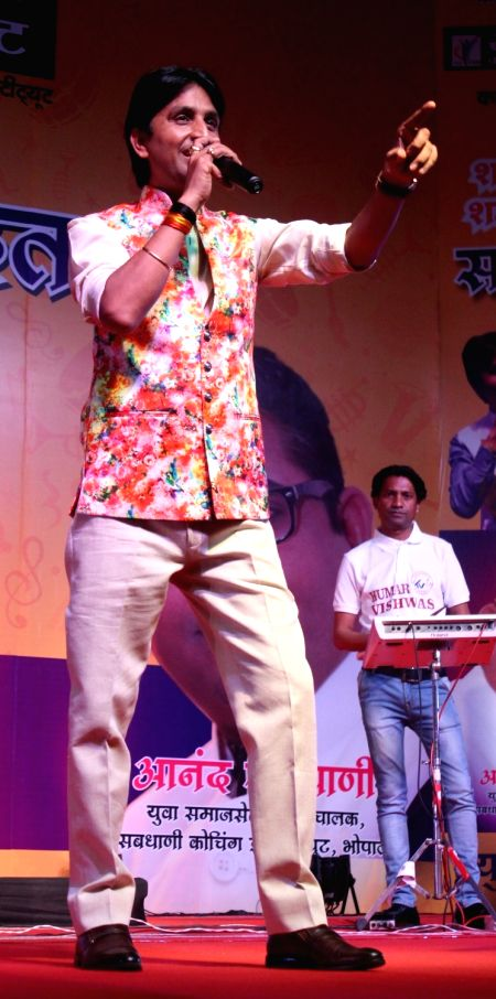 AAP leader Kumar Vishwas during a programme in Bhopal on May 6, 2017.