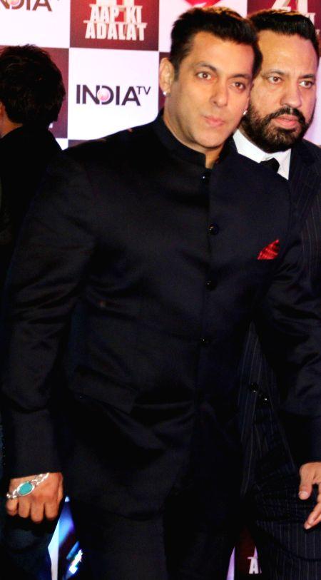 Actor Salman Khan during Aap Ki Adalat's 21st anniversary celebrations in New Delhi on Dec 2, 2014. - Salman Khan