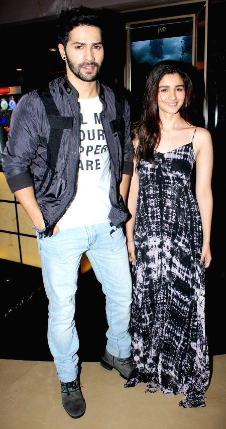 Actors Alia Bhatt and Varun Dhawan during the special screening of Humpty Sharma ki Dulhania in Mumbai on July 10, 2014. - Alia Bhatt and Varun Dhawan