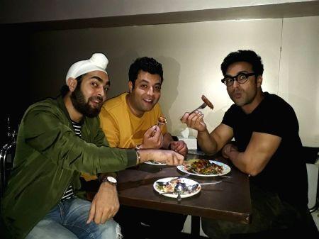 Pulkit Samrat, Manjot Singh and Varun Sharma seen at Bandra