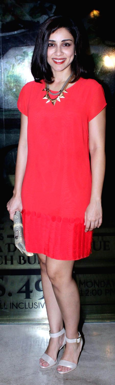 Actress Amrita Puri during the special bollywood party hosted by the filmmaker Guneet Monga for Hollywood actor Elijah Wood, in Mumbai, on Sep 6, 2015. - Amrita Puri