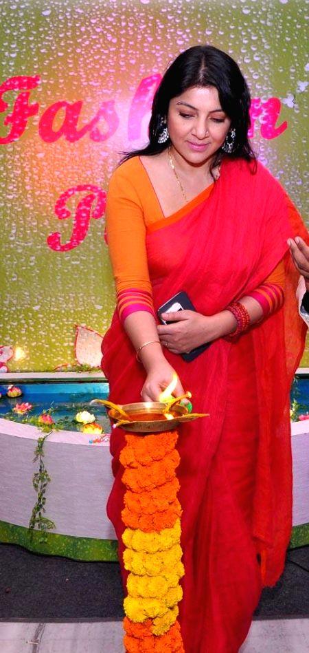 Actress Locket Chatterjee during inauguration of the 14th edition of Kolkata Fashion Fair (KFF) in Kolkata on July 25, 2014. - Locket Chatterjee