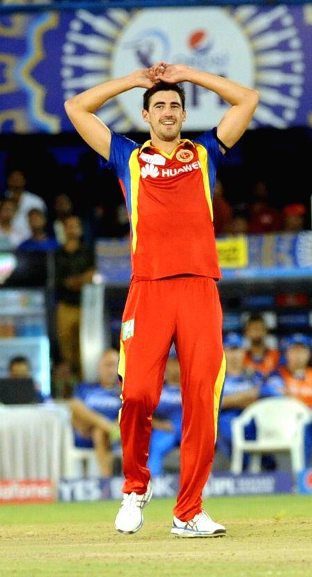 Royal Challengers Bangalore Mitchell Starc during an IPL-2015 match between Royal Challengers Bangalore and Rajasthan Royals at Sardar Patel Stadium, Motera, in Ahmedabad, on April 19, ... - Ajinkya Rahane and Sardar Patel Stadium