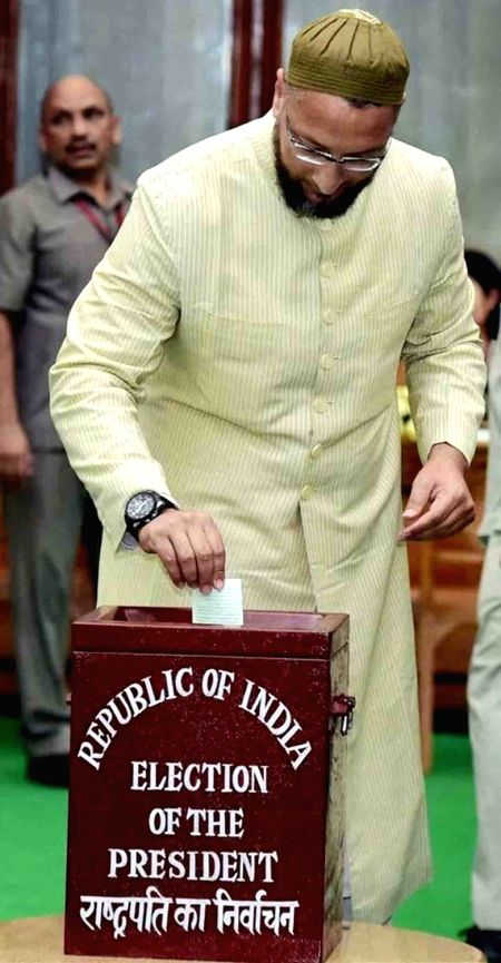 AIMIM leader Asaduddin Owaisi casts his vote during presidential polls at Telangana Assembly in Hyderabad on July 17, 2017.
