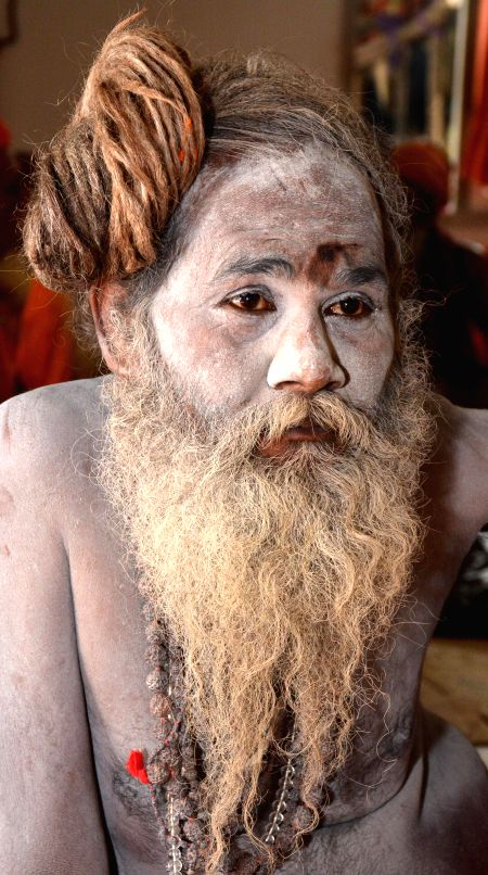 An ascetic at Kamakhya temple during Ambubachi Mela, also known as Ambubasi festival in Guwahati on June 26, 2014.