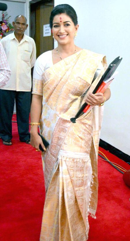BJP legislator Angurlata Deka arrives during the inaugural session of the 14th Assam Legislative Assembly 2016 in Guwahati on June 1, 2016.