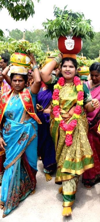 Bonalu' celebrations underway, in Hyderabad on Aug 9, 21018.