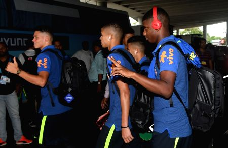 Brazilian players arrive in Kolkata
