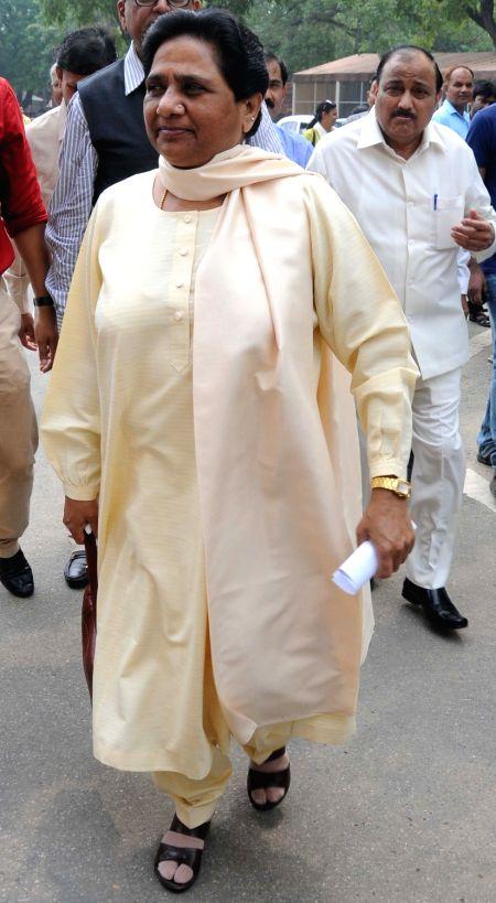 BSP chief Mayawati at Parliament in New Delhi, on July 26, 2016.