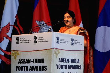 Sushma Swaraj at ASEAN-India Youth Awards