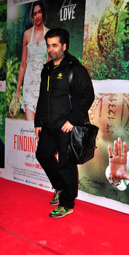Filmmaker Karan Johar during the screening of film Finding Fanny in Mumbai, on Sep. 01, 2014. - Karan Johar
