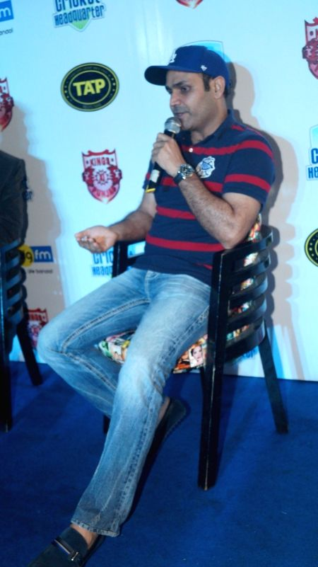 Former Indian cricket player Virender Sehwag during a meet and greet session in Mumbai on May 11, 2016.