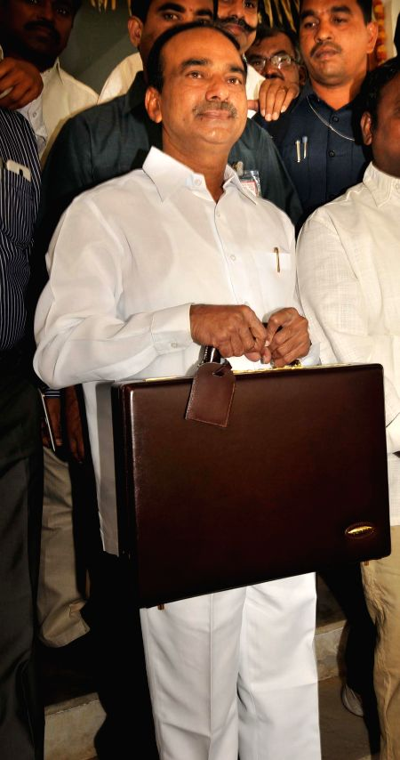 Telangana Finance Minister Etela Rajender arrives at the state assembly to present state budget for 2015-16 in Hyderabad, on March 11, 2015. - Etela Rajender