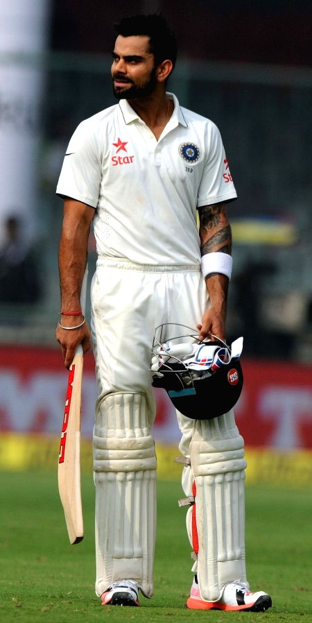Indian batsman Virat Kohli during the Fourth and the final test match between India and South Africa at the Feroz Shah Kotla Stadium in New Delhi on Dec. 3, 2015. - Virat Kohli