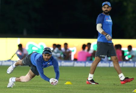 Dambulla (Sri Lanka): India - practice session - Manish Pandey
