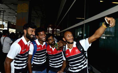 Indian hockey team arrive at IGI Airport