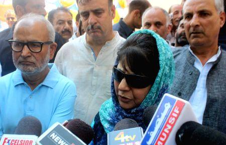 J&K CM Mehbooba Mufti talks to press
