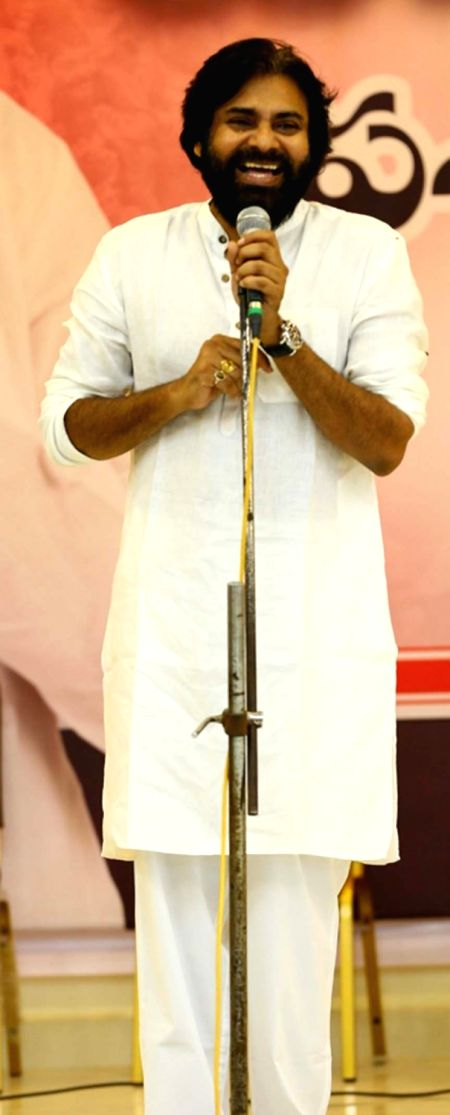 Jana Sena Chief Pawan Kalyan interacts with school students, in Andhra Pradesh's Vijayawada on July 26, 2018.