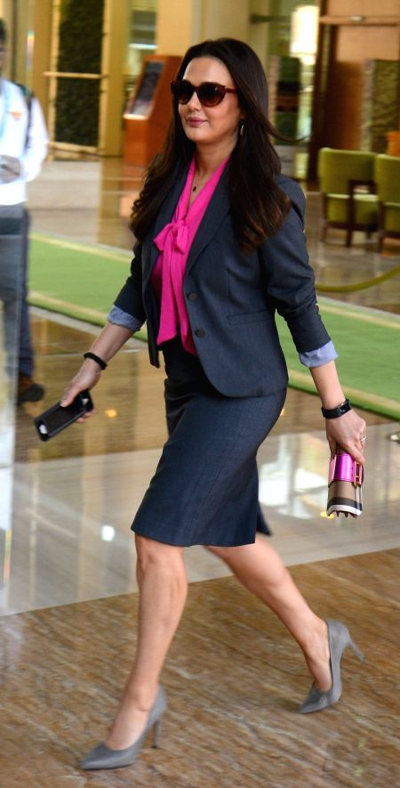 Kings XI Punjab co-owner Preity Zinta arrives to attend Indian Premier League (IPL) Players' Auction in Bengaluru on Jan 28, 2018. - Preity Zinta