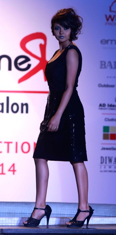 A model at the launch of a salon in Kolkata, on Dec 2, 2014.