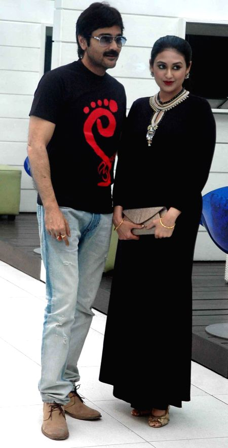 Actors Prosenjit Chatterjee and Kusum Sikdar during a programme in Kolkata, on March 2, 2015.