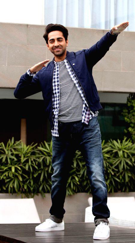 Bollywood actor Ayushmann Khurrana during a press conference for his upcoming movie Hawaizaada in Kolkata on Jan 27, 2015.