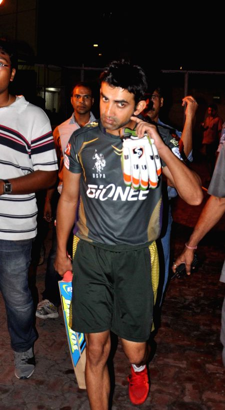 Kolkata Knight Riders captain Gautam Gambhir after a practice session at the Eden Gardens in Kolkata, on April 5, 2015. - Gautam Gambhir