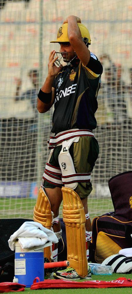 Kolkata Knight Riders (KKR) captain Gautam Gambhir during a practice session at the Eden Gardens in Kolkata, on April 10, 2015. - Gautam Gambhir