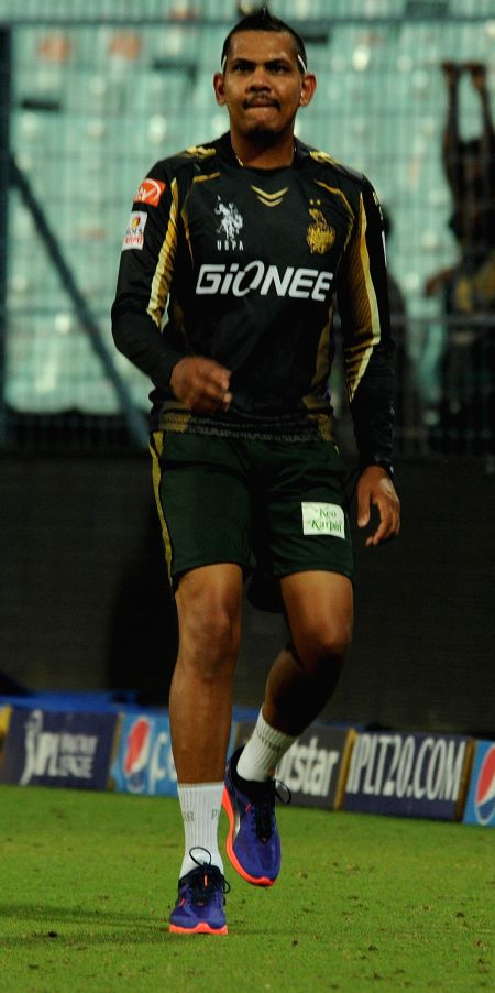 :Kolkata Knight Riders (KKR) player Sunil Narine during a practice session at the Eden Gardens in Kolkata, on April 10, 2015. (Photo: IANS).