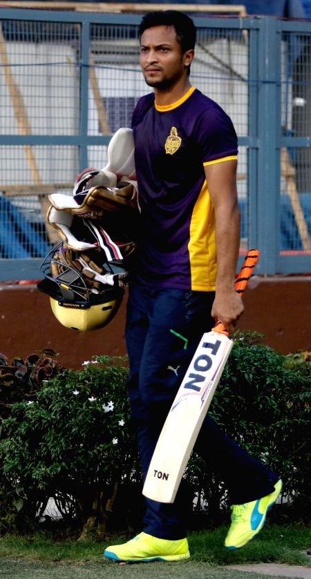 Kolkata Knight Riders player Shakib Al Hasan during a practice session ahead of IPL Season 9 at Eden Gardens in Kolkata on April 6, 2016.