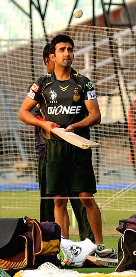 Kolkata Knight Riders captain Gautam Gambhir during a practice session for the upcoming IPL matches in Kolkata, on April 4, 2015. - Gautam Gambhir