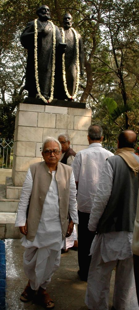 Left Front chairman Biman Bose after paying tribute to Friedrich Engels - a German social scientist, author, political theorist, philosopher and father of Marxist theory, together with Karl . - Biman Bose
