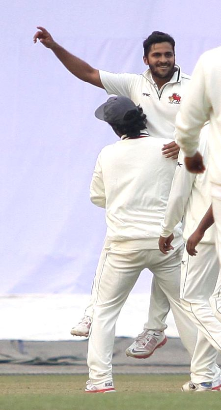 Mumbai bowler Shardul Thakur celebrates fall of a wicket during a Ranji trophy match against Bengal at Eden Garden in Kolkata on Dec 29, 2014. - Shardul Thakur