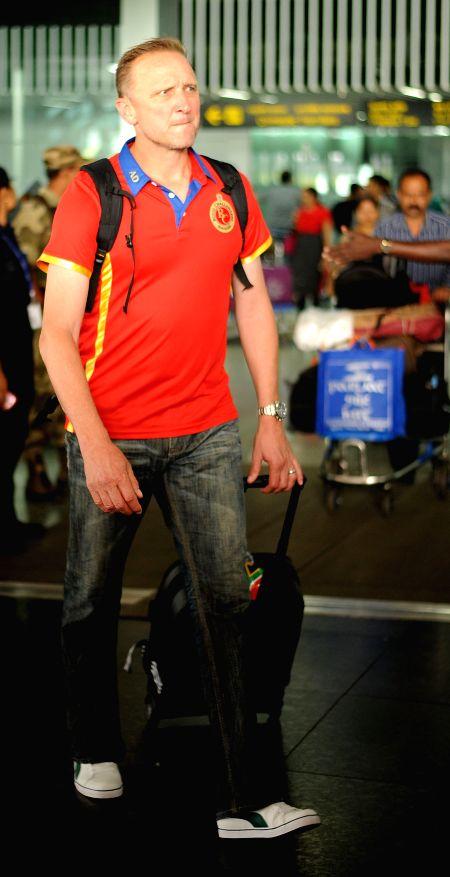 Royal Challengers Bangalore (RCB) bowling coach Allan Donald arrives at Netaji Subhas Chandra Bose Airport in Kolkata on April 6, 2015.