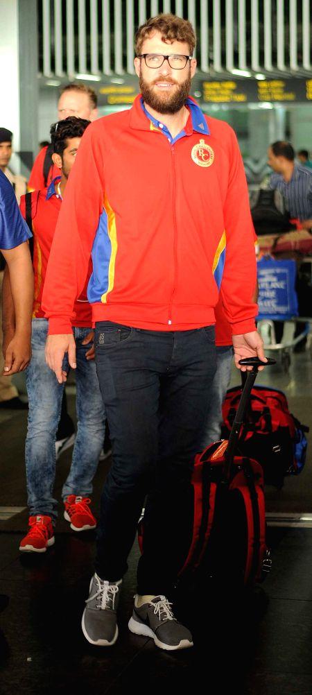 Royal Challengers Bangalore (RCB) coach Daniel Vettori arrives at Netaji Subhas Chandra Bose Airport in Kolkata on April 6, 2015.