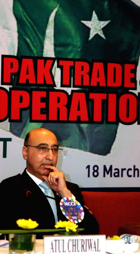 The High Commissioner of Pakistan in India, Abdul Basit during an interactive session on `Enhancing Indo-Pak Trade and Economic Cooperation` in Kolkata, on March 18, 2015.