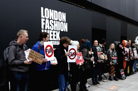BRITAIN-LONDON-LFW-ANIMAL CRUELTY PROTEST