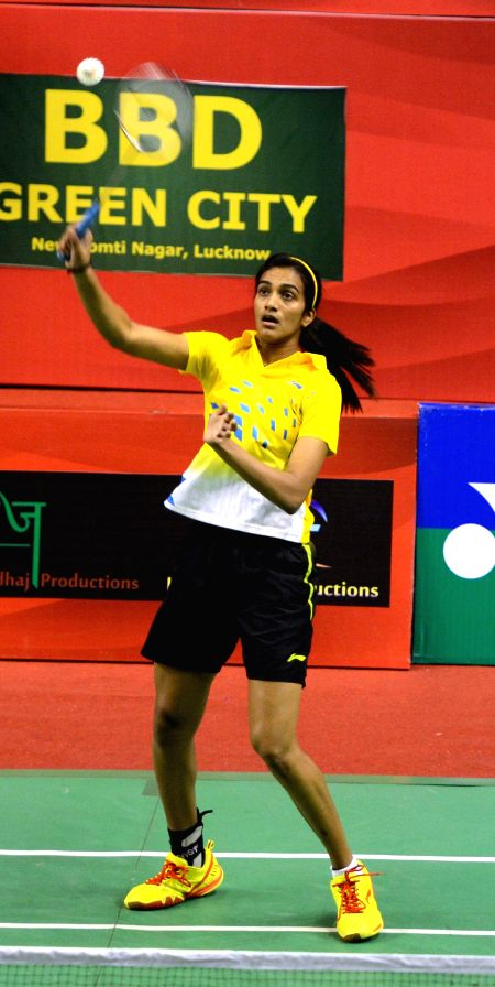 Indian badminton player P. V. Sindhu in action during the  Syed Modi International Grand Prix Gold Badminton Championship in Lucknow, on Jan 21, 2015.