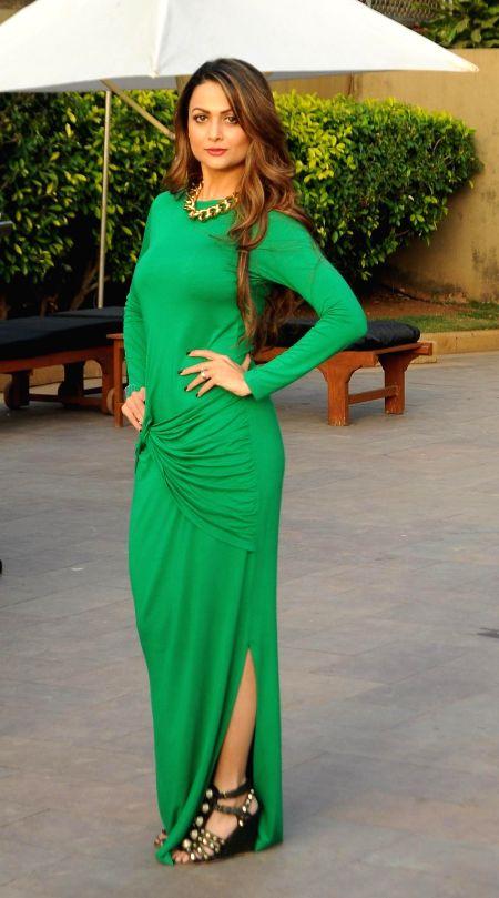 Actor Amrita Arora during the India Beach Fashion Week, Goa 2015 press conference in Mumbai, on Jan 21, 2015. - Amrita Arora