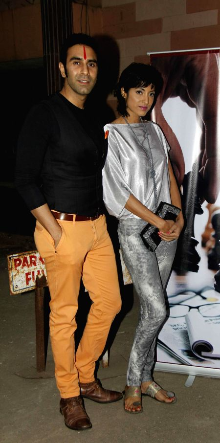 Actors Lalit Bisht and Jesse Randhawa during the muhurat and song recording of film JD in Mumbai, on 5th Jan 2015 - Lalit Bisht and Jesse Randhawa
