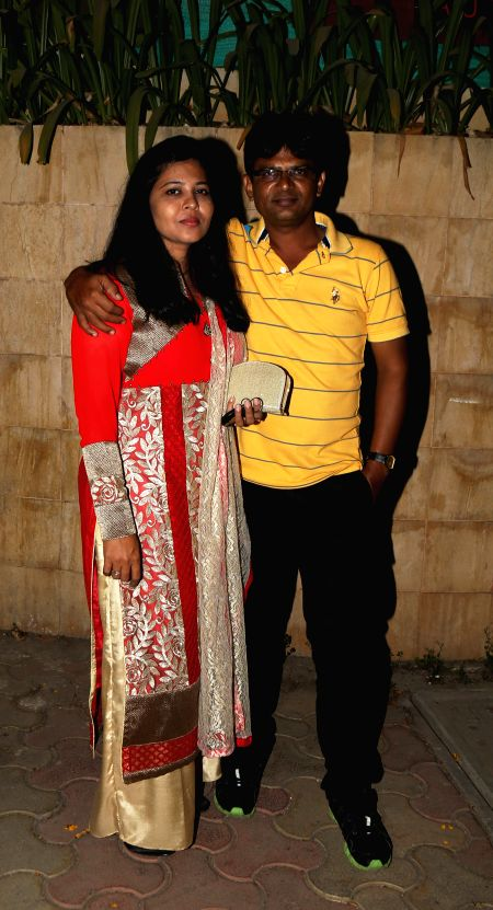 Reshma Khan and Irshad Khan during the film Bumper Draw completion party in Mumbai on April 26, 2015. - Reshma Khan and Irshad Khan