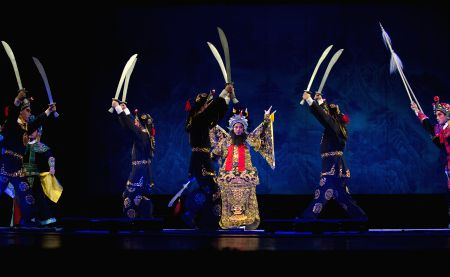 Actors perform Cantonese Opera during a project funded by China National Arts Fund at the Nanjing Zijin Grand Theater in Nanjing, capital of east China's Jiangsu Province, Aug. 21, 2017.