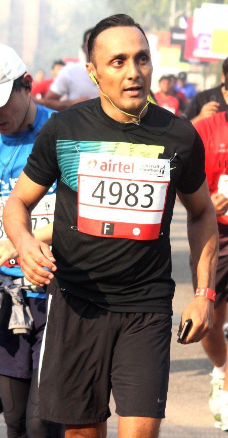 Actor Rahul Bose who participated in Airtel Delhi Half Marathon at Jawaharlal Nehru Stadium in New Delhi on Nov 23, 2014.