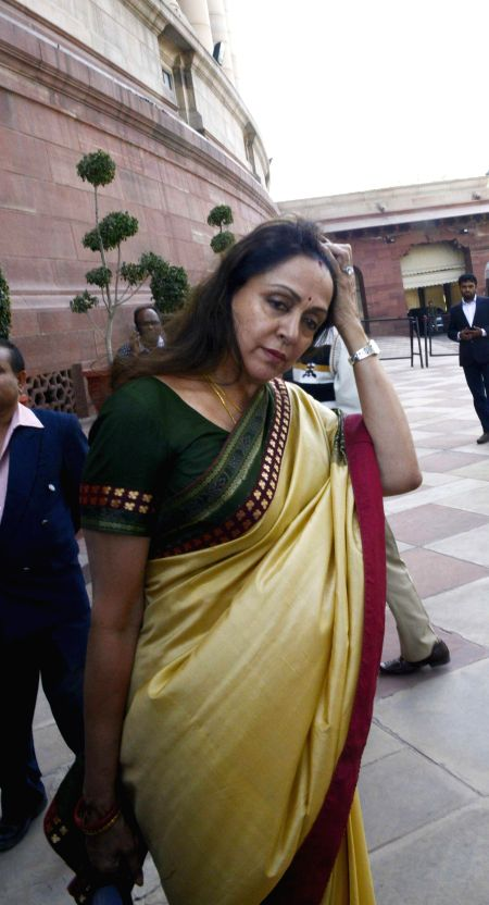 Actress and BJP MP from Mathura Hema Malini at the Parliament premises in New Delhi, on Dec 3, 2014. - Hema Malini
