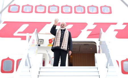PM Modi emplanes for Delhi after attending WEF Summit
