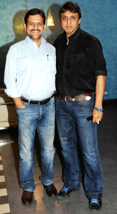 Rakesh Madhotra ceo Nadiadwala grandson with producer director Vikram Razdan during special screening of film 2 States at YRF Studios in Mumbai on April 17, 2014.