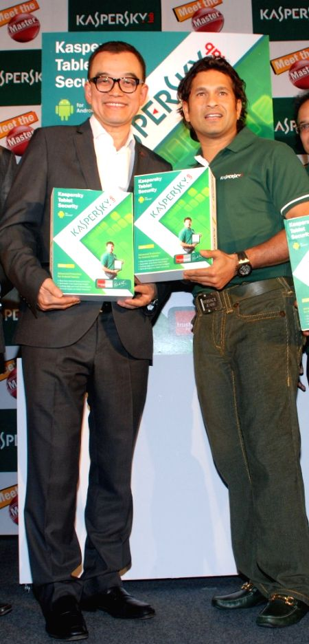 Sachin Tendulkar, the brand ambassador of Kasperskey, with Harry Cheung, MD of APAC, during the launch of Kaspersky tablet security launch in Mumbai.