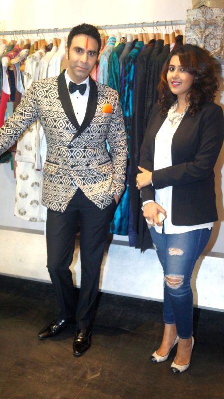 Sandip Soparrkar talks about his visit in Cannes with his designer Pooja Shah in Mumbai, on May 10, 2016. - Pooja Shah