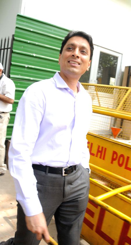 Swan Telecom promoter Shahid Usman Balwa one of the accused in 2G spectrum allocation case, arrive at Patiala House Court in New Delhi on May 5, 2014.