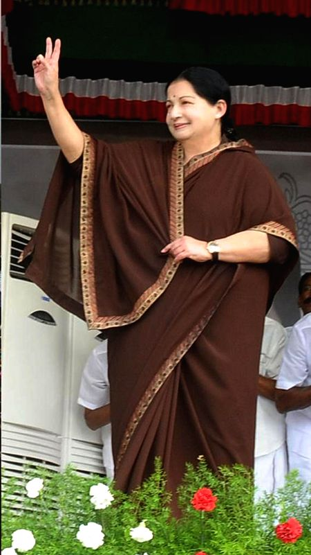 Tamil Nadu Chief Minister and AIADMK Supremo J Jayalalithaa during a rally in Mettupalayam of Tamil Nadu on April 10, 2014.